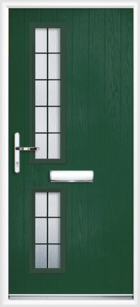2 Rectangle Glazed Square Composite Front Door Green
