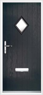 1 Diamond Glazed Composite Door Black