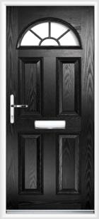 4 Panel Half Moon Georgian Composite Door Black