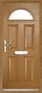 4 Panel Half Moon Glazed Composite Door Oak