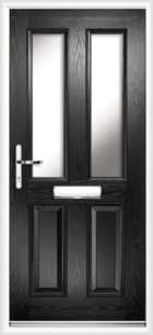 2 Panel 2 Glazed Composite Front Door Black
