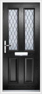 2 Panel 2 Glazed Diamond Lead Composite Front Door Black