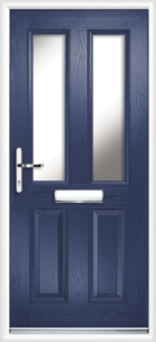 2 Panel 2 Glazed Composite Front Door Blue