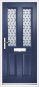2 Panel 2 Glazed Diamond Lead Composite Front Door Blue