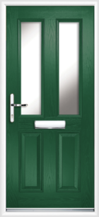 2 Panel 2 Glazed Composite Front Door Green