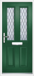 2 Panel 2 Glazed Diamond Lead Composite Front Door Green