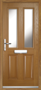 2 Panel 2 Glazed Composite Front Door Oak