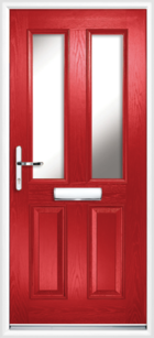 2 Panel 2 Glazed Composite Front Door Red