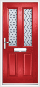 2 Panel 2 Glazed Diamond Lead Composite Front Door Red