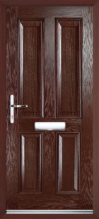4 Panel Composite Front Door, Rosewood