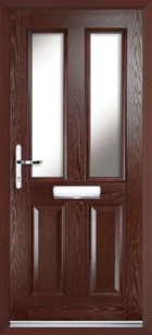 2 Panel 2 Glazed Composite Front Door Rosewood
