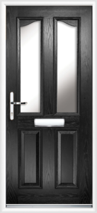 2 Panel 2 Glazed Eyebrow Composite Front Door Black