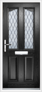 2 Panel 2 Glazed Eyebrow Diamond Lead Composite Front Door Black