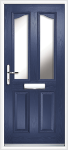 2 Panel 2 Glazed Eyebrow Composite Front Door Blue