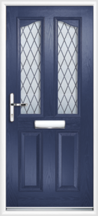 2 Panel 2 Glazed Eyebrow Diamond Lead Composite Front Door Blue