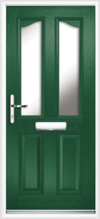 2 Panel 2 Glazed Eyebrow Composite Front Door Green