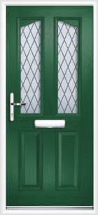 2 Panel 2 Glazed Eyebrow Diamond Lead Composite Front Door Green