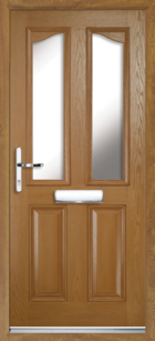 2 Panel 2 Glazed Eyebrow Composite Front Door Oak