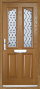 2 Panel 2 Glazed Eyebrow Diamond Lead Composite Front Door Oak