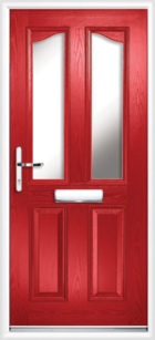 2 Panel 2 Glazed Eyebrow Composite Front Door Red