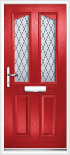 2 Panel 2 Glazed Eyebrow Diamond Lead Composite Front Door Red