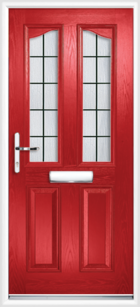 2 Panel 2 Glazed Eyebrow Square Lead Composite Front Door Red