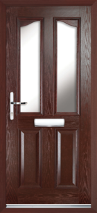 2 Panel 2 Glazed Eyebrow Composite Front Door Rosewood