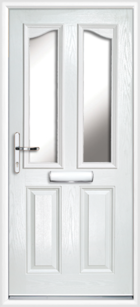 2 Panel 2 Glazed Eyebrow Composite Front Door White