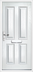 4 Panel Composite Front Door, White