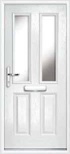 2 Panel 2 Glazed Composite Front Door White