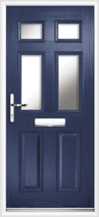 2 Panel 4 Glazed Composite Front Door Blue