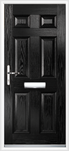 6 Panel Composite Front Door Black