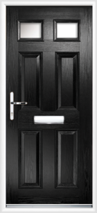 4 Panel 2 Glazed Composite Front Door Black
