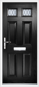 4 Panel 2 Glazed Diamond Lead Composite Door Black