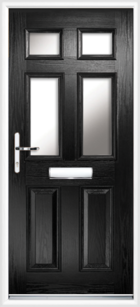 2 Panel 4 Glazed Composite Front Door Black