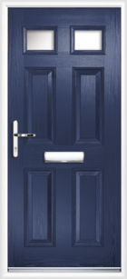 4 Panel 2 Glazed Composite Front Door Blue