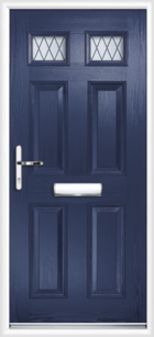 4 Panel 2 Glazed Diamond Lead Composite Front Door Blue