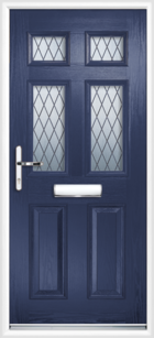 2 Panel 4 Glazed Diamond Lead Composite Front Door Blue