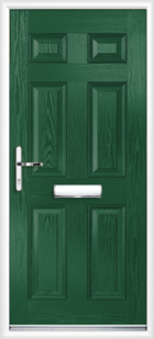 6 Panel Composite Front Door Green