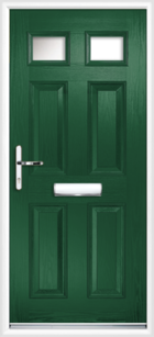 4 Panel 2 Glazed Composite Front Door Green
