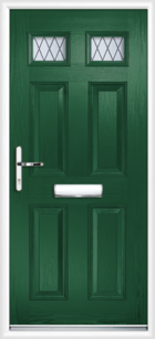 4 Panel 2 Glazed Diamond Lead Composite Front Door Green