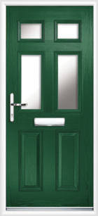 2 Panel 4 Glazed Composite Front Door Green