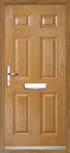 6 Panel Composite Front Door Oak
