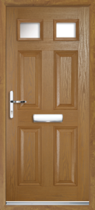 4 Panel 2 Glazed Composite Front Door Oak