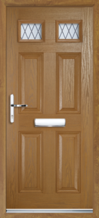 4 Panel 2 Glazed Diamond Lead Composite Front Door Oak