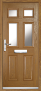 2 Panel 4 Glazed Composite Front Door Oak