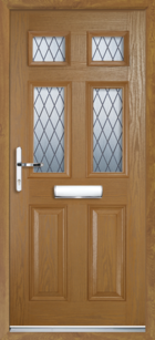 2 Panel 4 Glazed Diamond Lead Composite Front Door Oak
