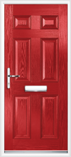 6 Panel Composite Front Door Red