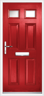 4 Panel 2 Glazed Composite Front Door Red