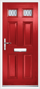 4 Panel 2 Glazed Diamond Lead Composite Front Door Red